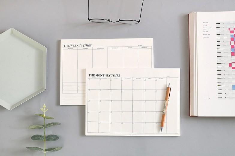 home office essentials - weekly and monthly planner