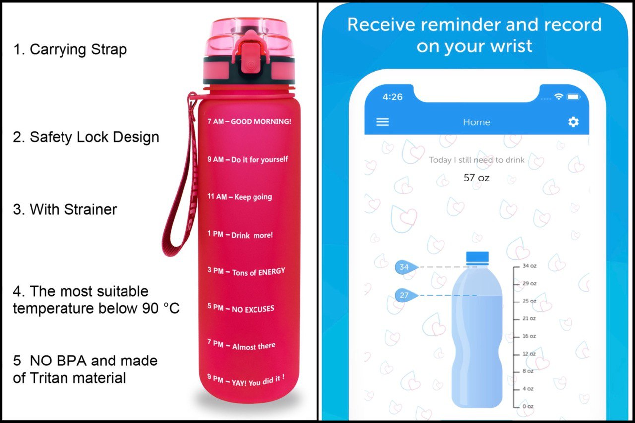 home office essentials - waterbottle with reminder and reminder app