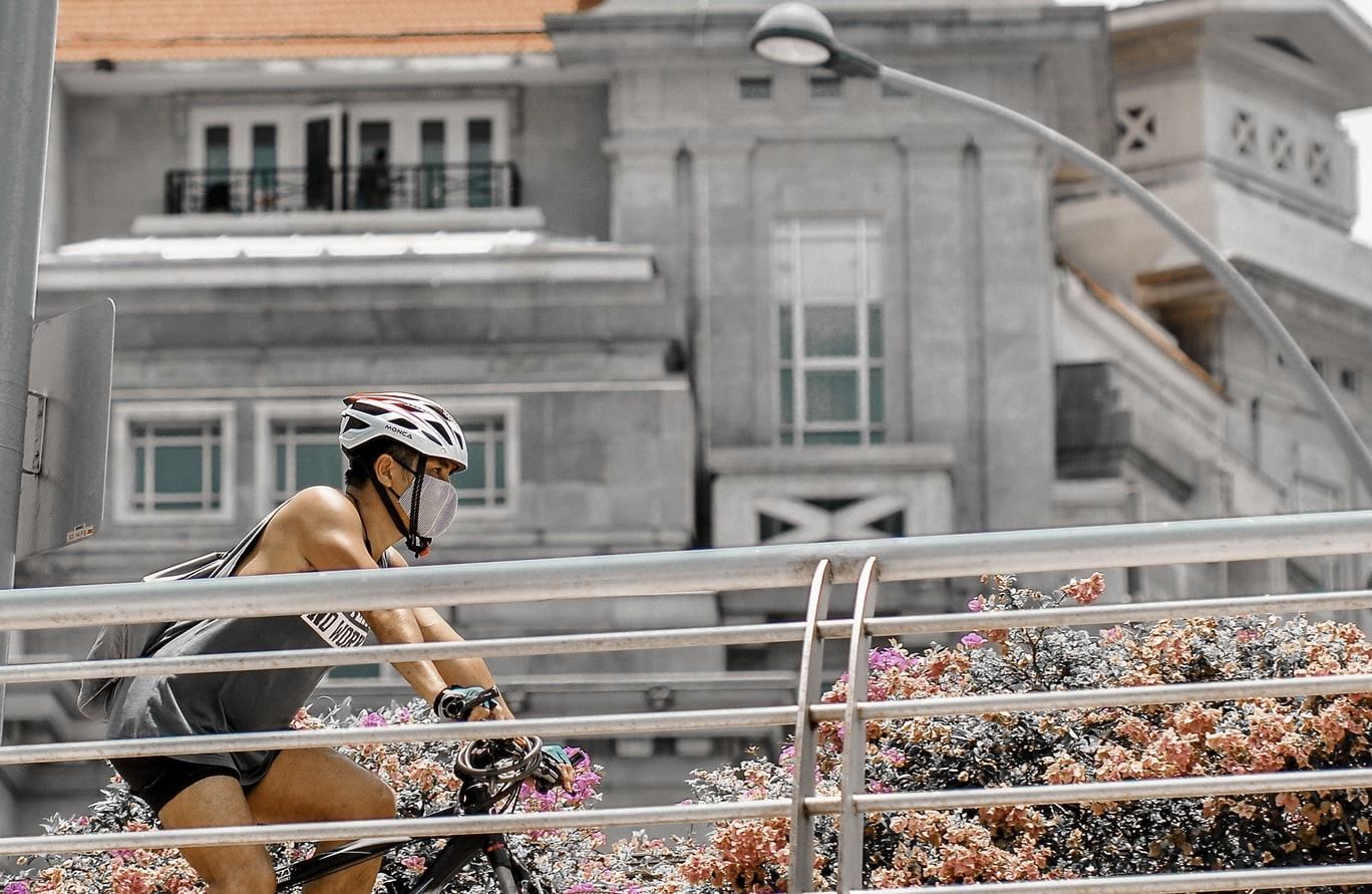 man cycling in Singapore