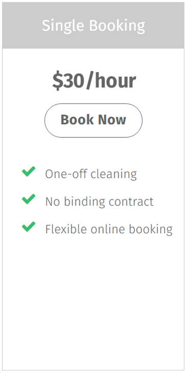 One-off housekeeping service price